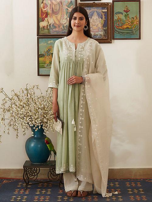 Green Mirror-Embroidered Chanderi Kurta