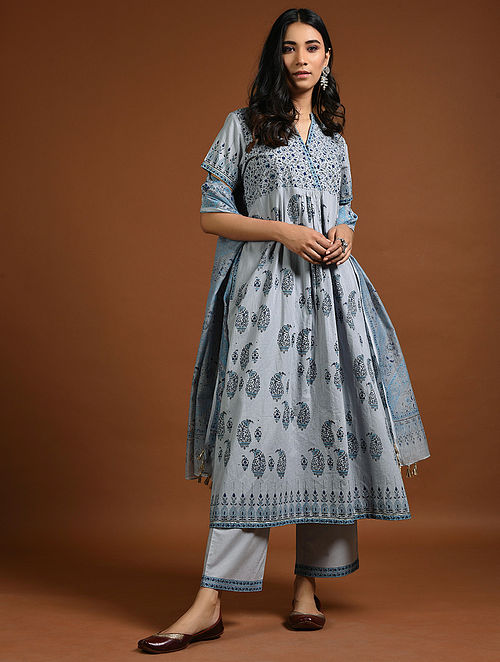 Blue Block-Printed Cotton Kurta