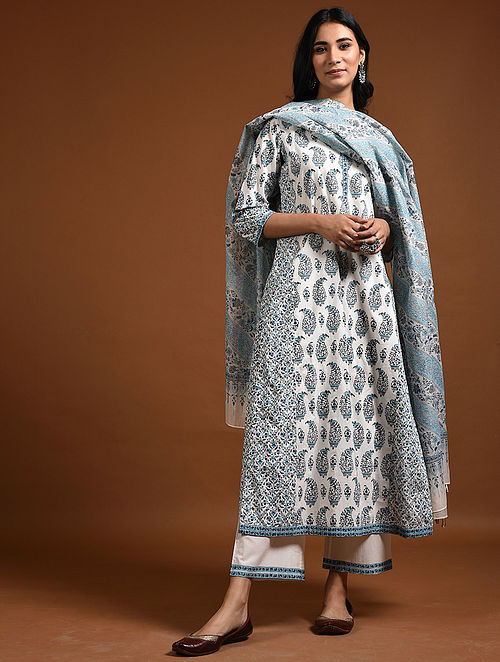 Ivory-Indigo Block-Printed Cotton Kurta