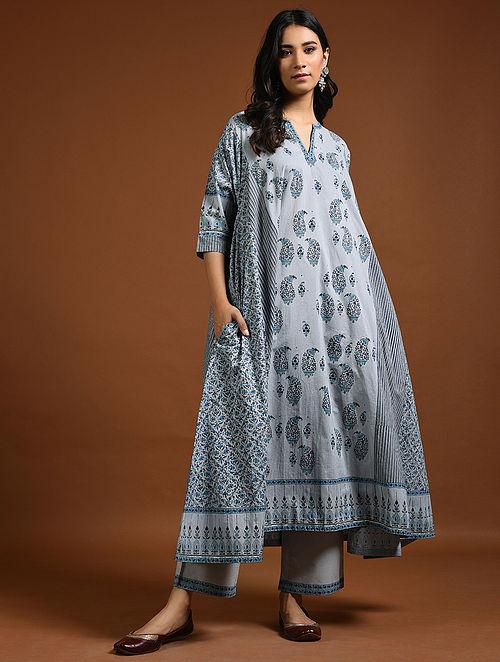 Blue Block-Printed Cotton Kurta