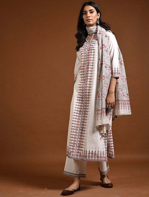 Ivory-Red Block-Printed Cotton Kurta