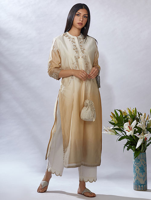Dusty Gold Gota Trimmed Mercerised Chanderi Kurta