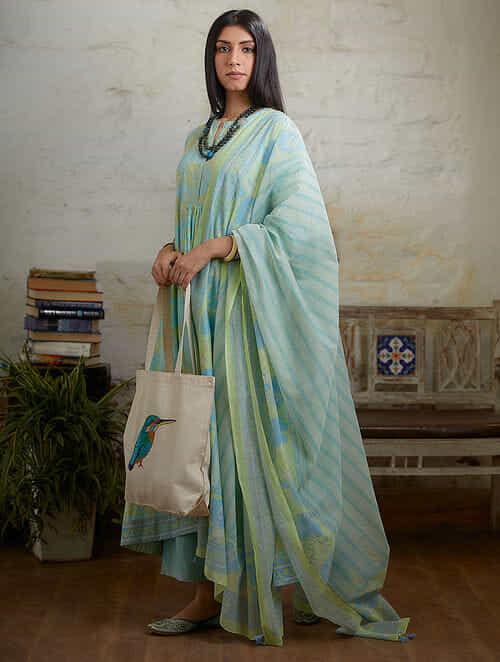 Blue Green Hand Block Printed Cotton Chanderi Dupatta with Tassel Details