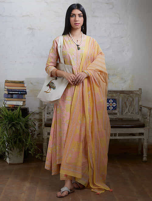 Peach Yellow Hand Block Printed Cotton Chanderi Dupatta with Tassel Details