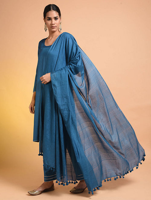 Blue Handloom Silk Cotton Dupatta with Tassels