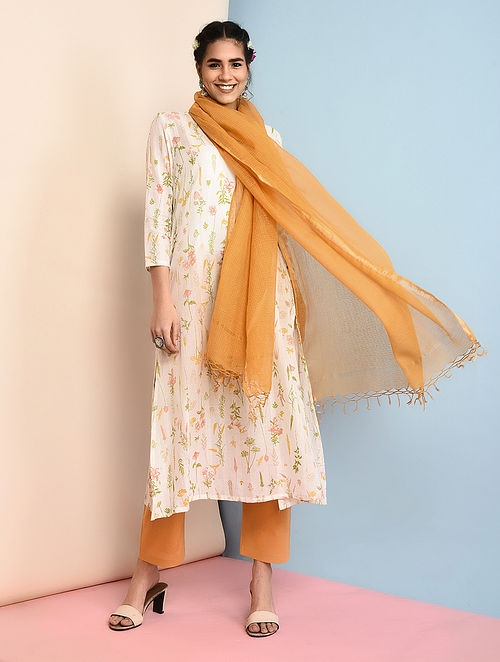 Yellow Cotton Dupatta with Zari