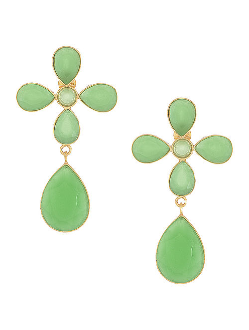 Aventurine Silver Earrings with Floral Design