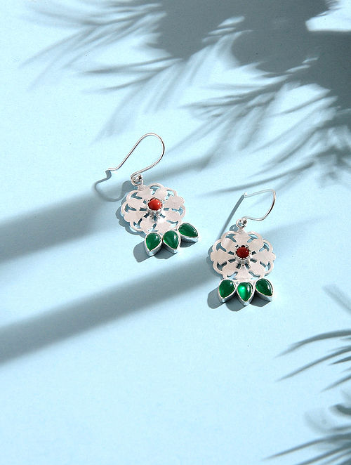 Coral and Green Onyx Silver Earrings
