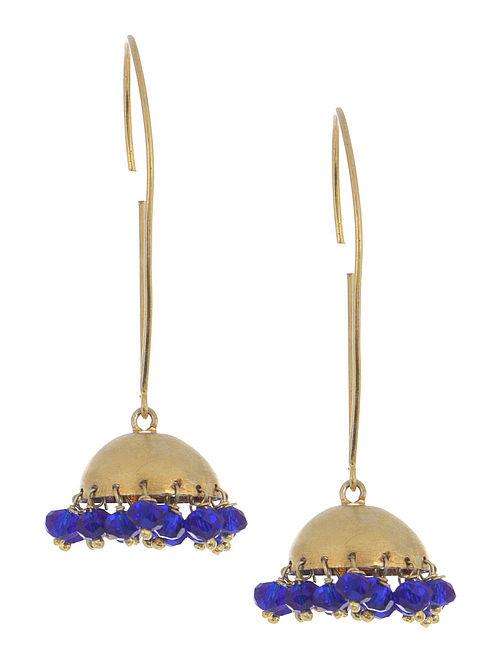 Blue Jade Silver Jhumkis by Deepa Sethi