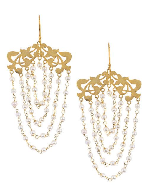 Floral Dangler Pearl Silver Earrings by Deepa Sethi
