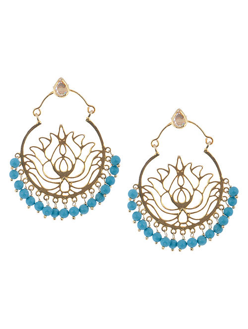 Floral Turquoise Silver Earrings by Deepa Sethi