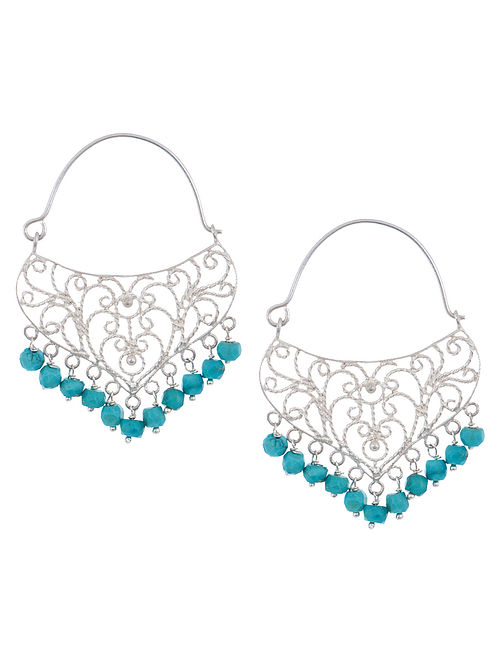 Ethno Turquoise Silver Earrings by Deepa Sethi