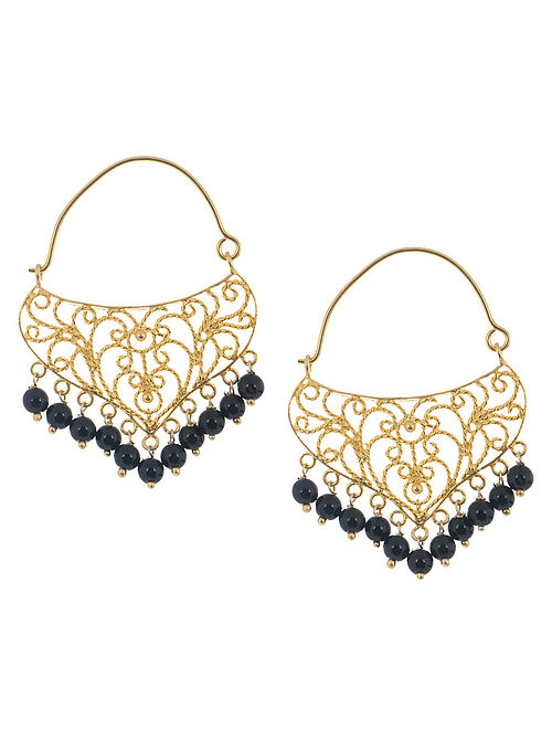 Ethno Black Onyx Silver Earrings by Deepa Sethi