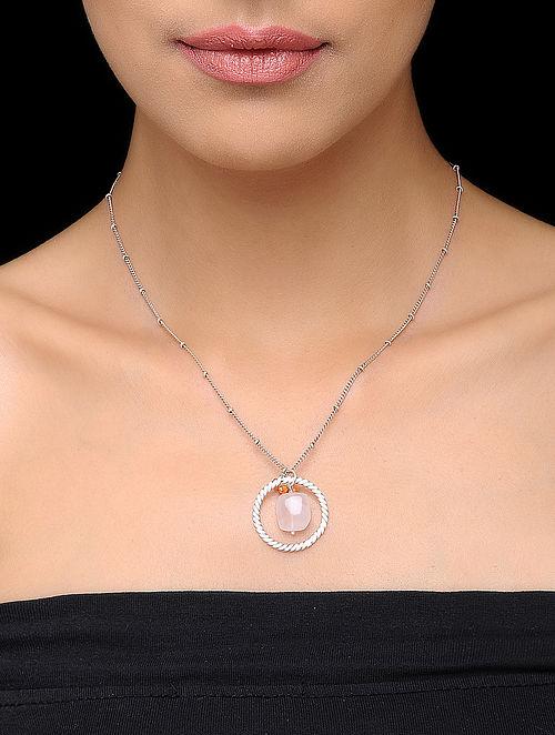 Pink Round Rose Quartz Silver Drop Pendant