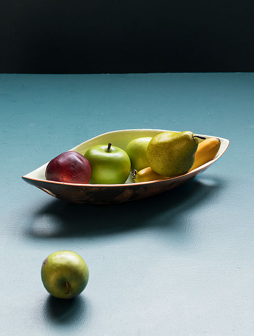 Green and Copper Aluminium and Iron Leaf Platter (L - 15in, W - 7in, H - 3in)