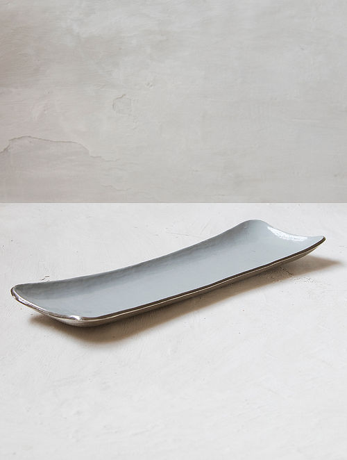 Fusion Grey and Silver Aluminium and Iron Platter (L - 21in, W - 6in, H - 2in)