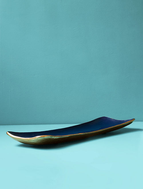 Fusion Blue and Gold Aluminium and Iron Platter (L - 21in, W - 6in, H - 2in)