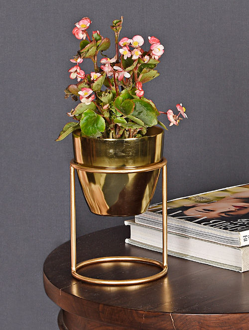 Petite Golden Handcrafted Aluminium and Iron Planter with Stand (Dia - 5in, H - 7.75in)