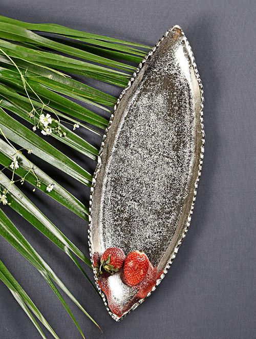 Falcate Silver Handcrafted Metal Platter (L - 16.5in, W - 6in, H - 2in)