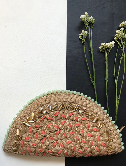 Brown Handcrafted Half Moon Clutch with Bugle Beads Embroidery