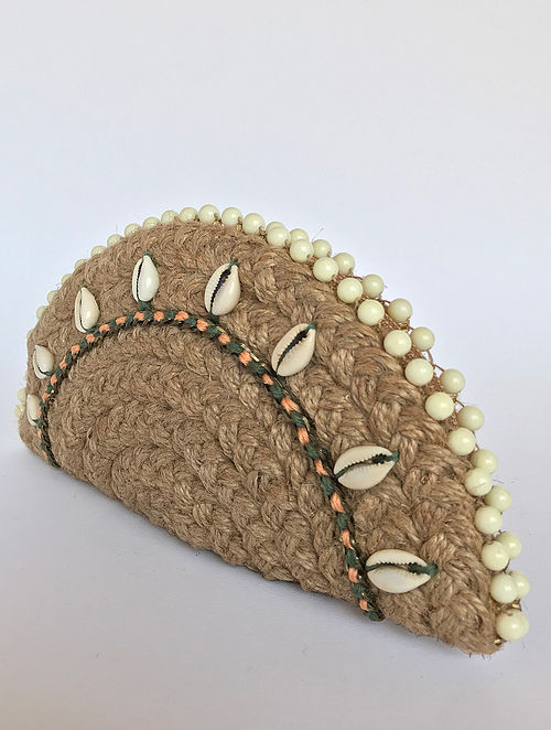 Brown Handcrafted Half Moon Clutch with Shells