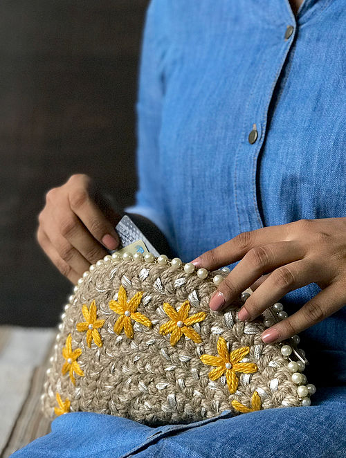 Brown Handcrafted Half Moon Clutch with Gota Patti