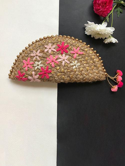 Brown Handcrafted Half Moon Clutch with Gota Patti and Pom Pom