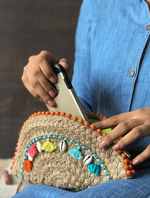 Brown Handcrafted Half Moon Clutch with Shells and Tassels
