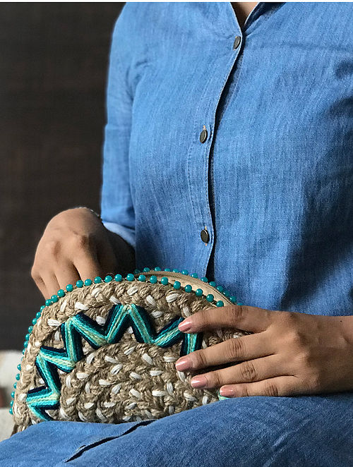 Brown Handcrafted Embroidered Half Moon Clutch
