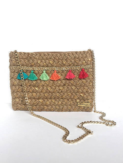 Brown Multicolored Handcrafted Jute Sling Bag with Tassels