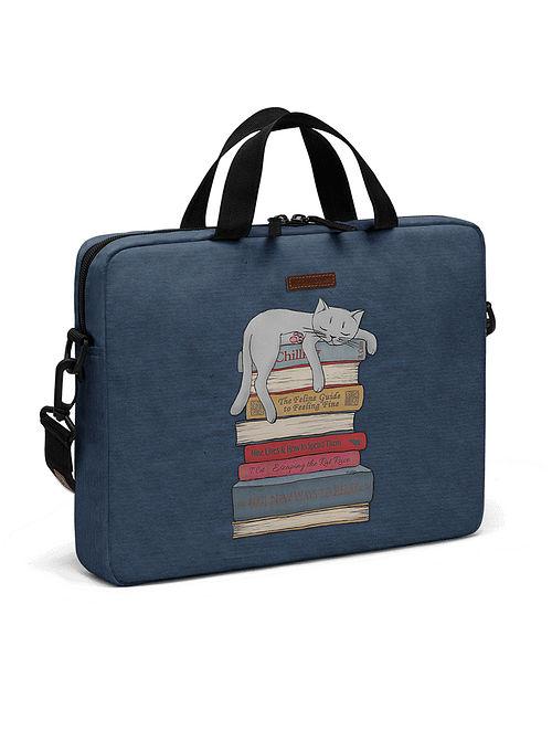 Blue Printed Laptop Bag