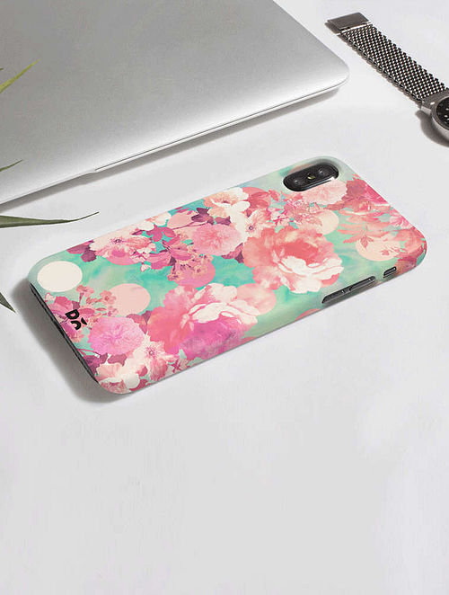 the latest 98f17 658ae Buy Pink-Green Floral Printed Back Cover Online at Jaypore.com
