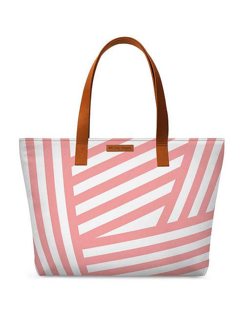 Pink White Printed Tote Bag