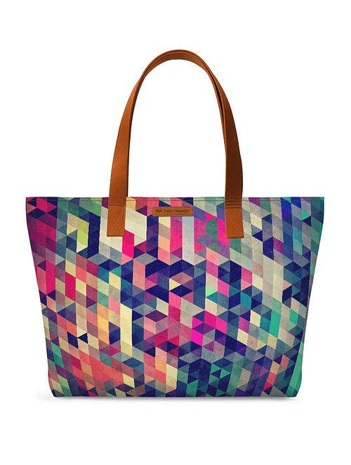 Multicolored Printed Tote Bag