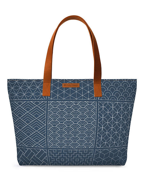 Blue White Printed Tote Bag