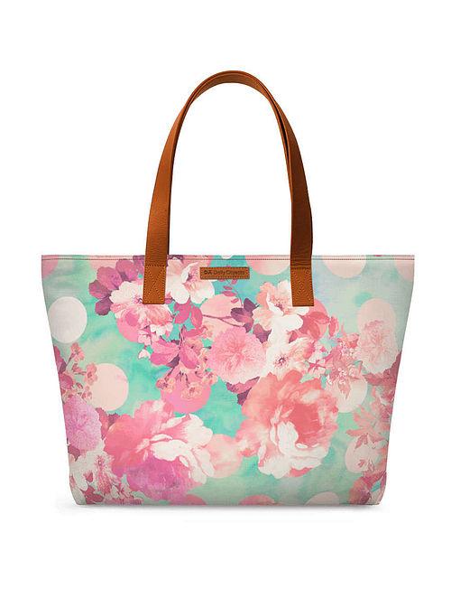 Teal Pink Printed Tote Bag