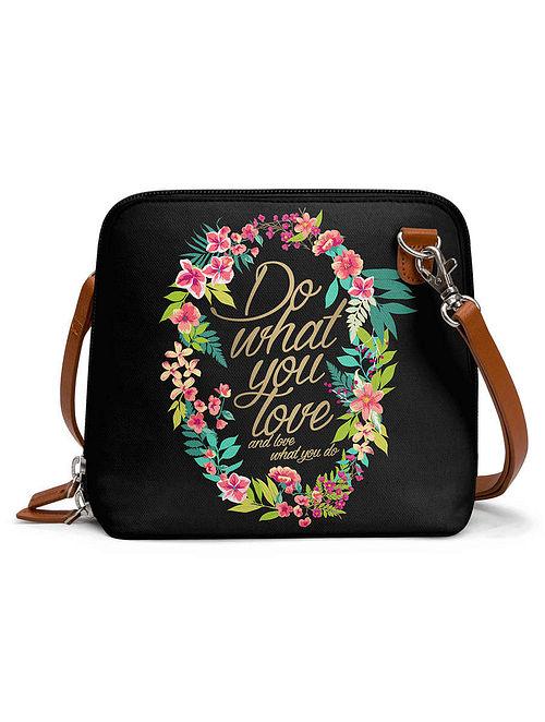 Black Multicolored Printed Sling Bag