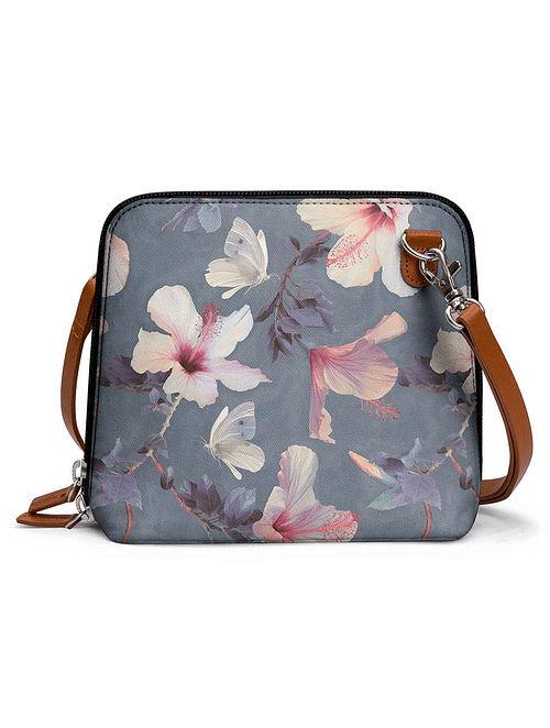 Grey Multicolored Printed Sling Bag