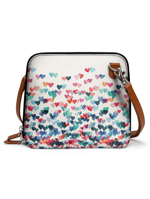 White Multicolored Printed Sling Bag