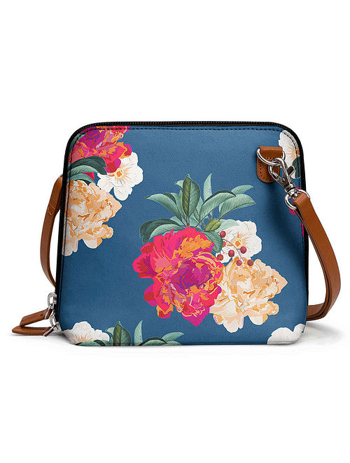 Blue Multicolored Printed Sling Bag