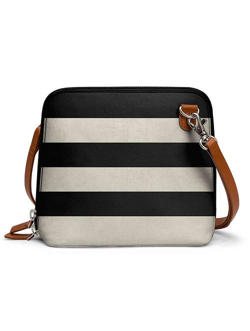 Black Cream Printed Sling Bag