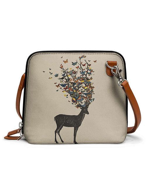 Cream Multicolored Printed Sling Bag