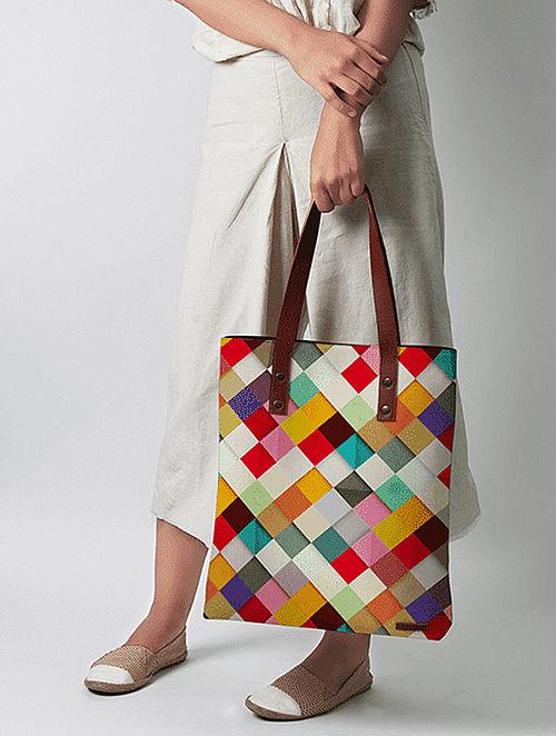 Multicolored Geometrical Print Tote Bag