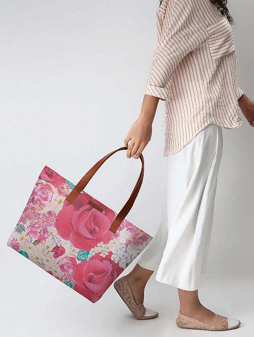 Pink-White Rose Print Tote