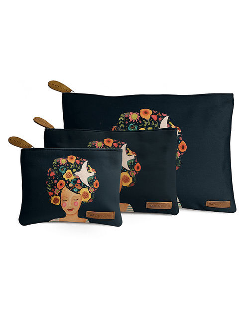 Black Printed Pouch (Set of 3)