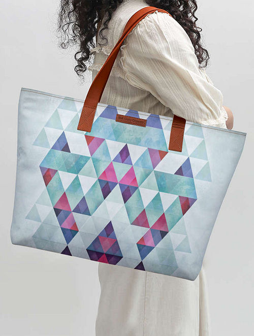 Blue Abstract Print Tote