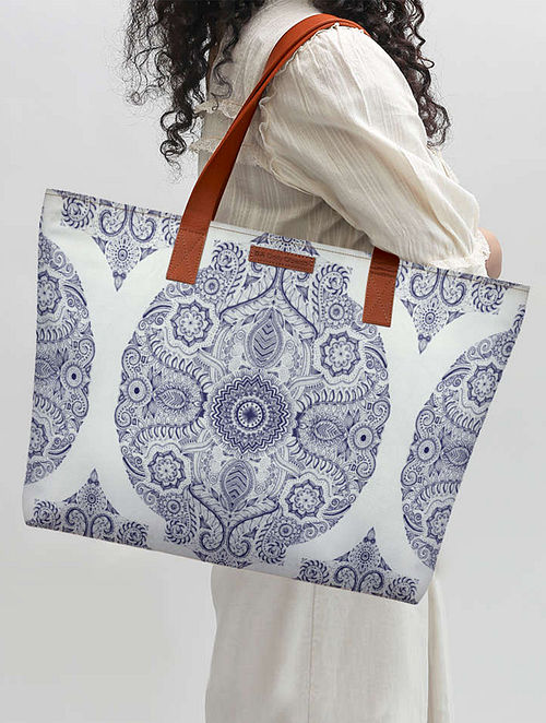White-Blue Printed Tote