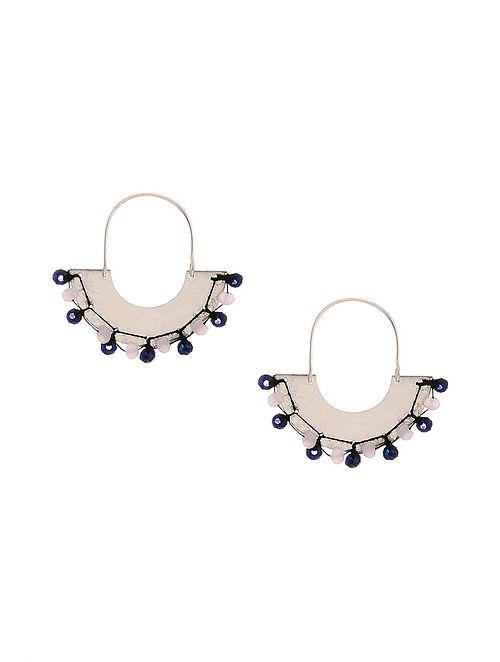Pink Blue Silver Earrings