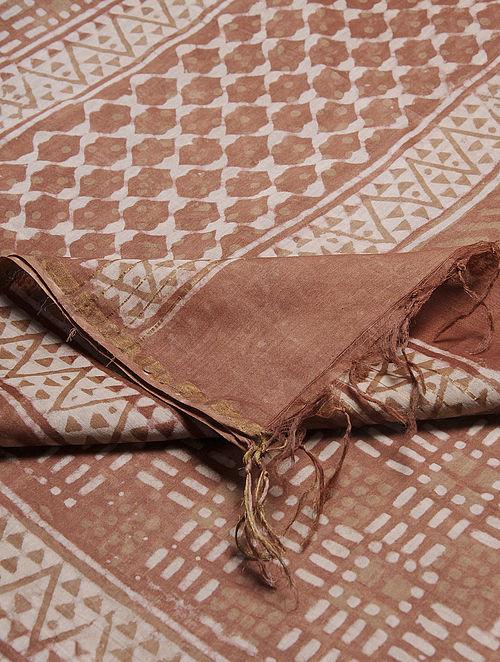 Brown-Ivory Dabu-printed Chanderi Dupatta with Zari