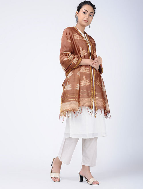 Brown-Ivory Shibori-dyed Chanderi Dupatta with Zari